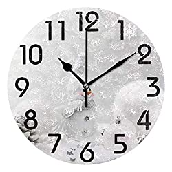 Dozili 3D Beautiful Christmas Background with Stars Snowman Snowflakes(White) Round Wall Clock Arabic Numerals Design Non Ticking Wall Clock Large for Bedrooms,Living Room,Bathroom
