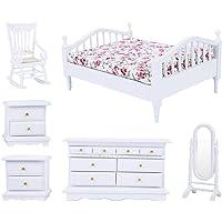 1:12 Escala Casa de muñecas Conjuntos de muebles para el dormitorio, 6pcs Mini cama blanca de madera floral Armario Silla Silla Espejo Kit de gabinete Muebles en miniatura Juegos de imaginación Juguet