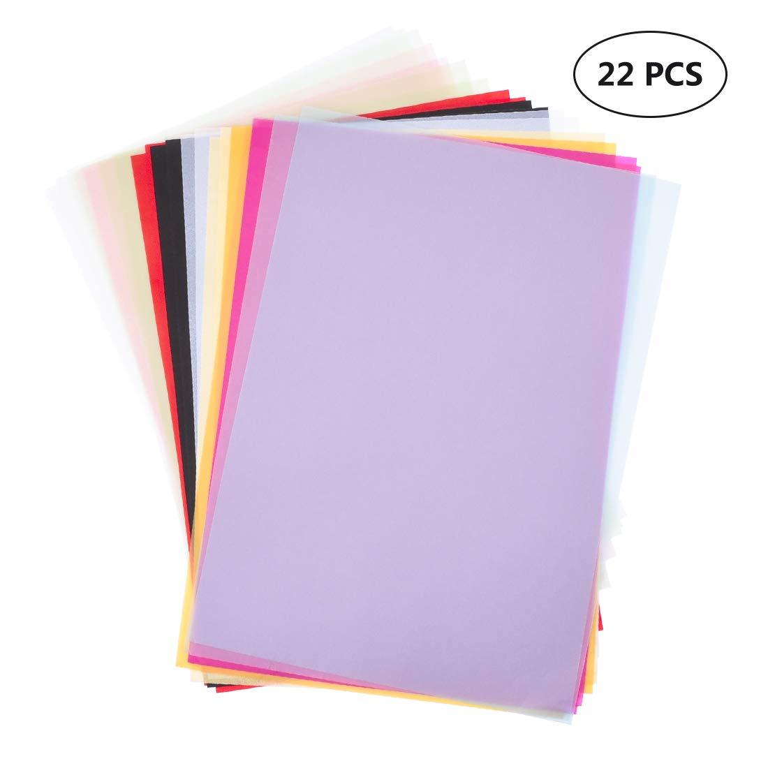 Dellcciu 22 Blatt Transparentpapiere, DIN A4, 11 Farben, 130 g/m² Dellcciu6654