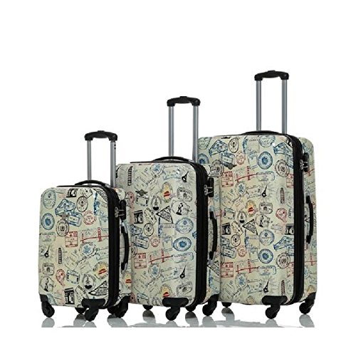 World Stamps Print Travel Luggage 3-Piece Set, Fun Graphic Pattern, Stylish, Fashionable, Expandable, Multi-Compartment, Spinner, Hard shell, Handle, Hardsided, Rolling Suitcase, For Unisex by S & E
