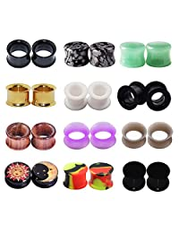 Longbeauty 12Pairs Stainless Steel+Wood+Silicone+Acrylic+Stone Plugs Tunnels Stretcher 2 Style to Choose!