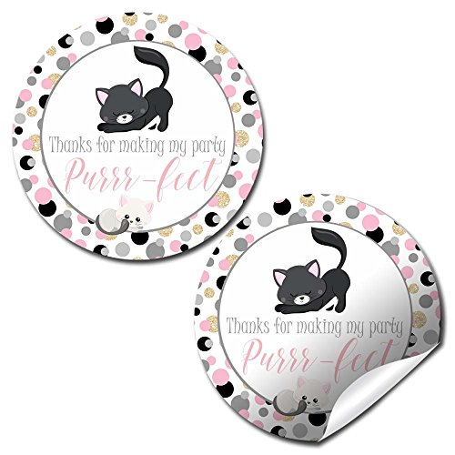Pink Polka Dot Kitty Cat Thank You Birthday Party Sticker Labels, 40 2