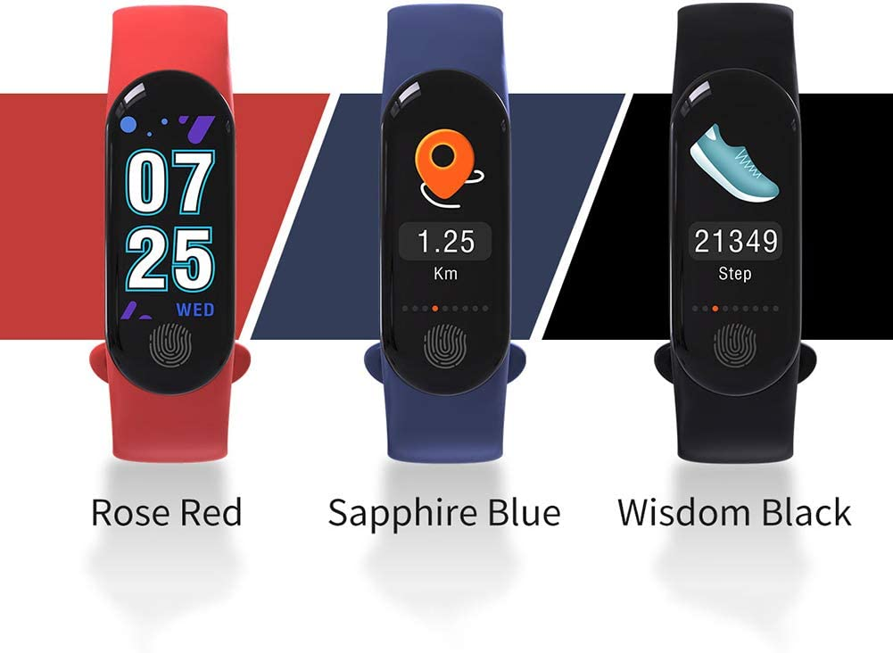 Bullker M3plus Waterproof Heart Rate Monitor Pedometer Fitness Tracker Smart Bracelet