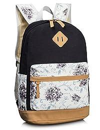 Leaper Cute Floral Canvas School Backpack Laptop Shoulder Bag Travel Rucksack Casual Daypack Black
