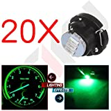 cciyu 20 Pack T5/T4.7 Neo Wedge 3 LED Green Instrument Dash A/C Climate Control Light Bulbs