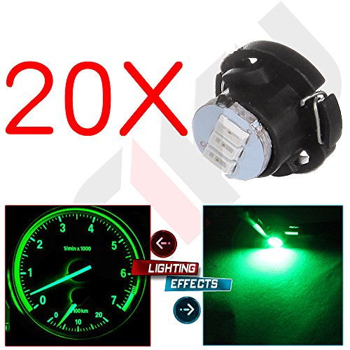 cciyu 20 Pack T5/T4.7 Neo Wedge 3 LED Green Instrument Dash A/C Climate Control Light Bulbs (Speedometer Ram Dodge)