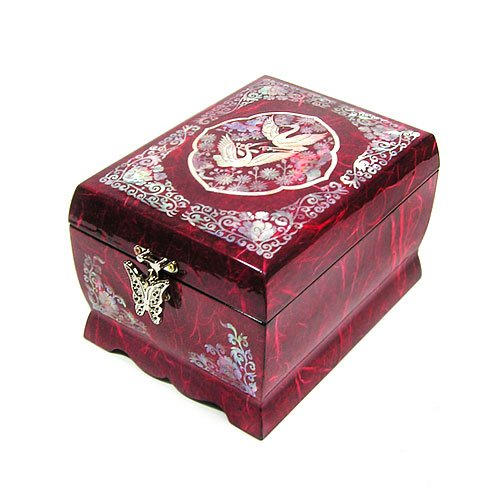 Wooden Musical Jewelry Ring Boxes Crane Mother of Pearl Necklace Hooks Inlaid Trinket Boxes Makeup Mirror Lid 2 Darwers Gift Chest for Women ()