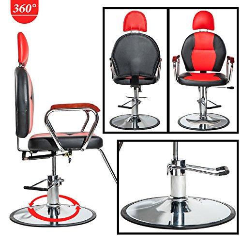 Merax Reclining Hydraulic Barber Chair Styling Salon Beauty Shampoo Spa Equipment (Black&Red) by Merax (Image #1)