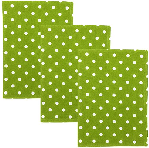 - Dunroven House Polka Dot 100% Cotton Kitchen Towels, Set of 3 (Lime Green)