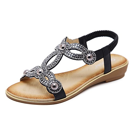 Meeshine Women T-Strap Rhinestone Beaded Gladiator Flat Sandals Summer Beach Sandal Black-04 US 8