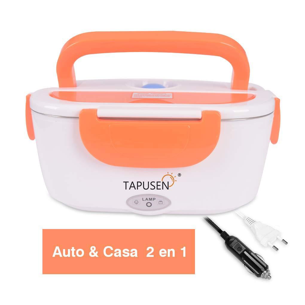 Acquisto Tapusen Contenitore per alimenti elettrica 2 in 1 per auto e famiglia scatola elettrica 220 V & 12 V riscaldatore di cibo elettrico in acciaio inox con due scomparti E cucchiaio Prezzi offerte