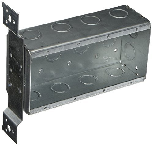 Raco 687 4 Gang 2-1/2 Deep Switch Box, Welded with 1/2 Setback Side Bracket, (12) Concentric 1/2 & 3/4 Knockouts by Raco (Setback Box)
