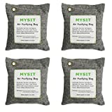 MySit Bamboo Charcoal Air Purifying Bag (4 Pack), 500g Natural Air Freshener Bags, Activated Charcoal Odor Eliminators, Car Air Purifier, Closet Freshener, Home Air Freshener(CharcoalBags500gx4B)