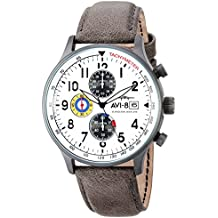 AVI-8 Men's 'Hawker Hurricane' Quartz Stainless Steel and Leather Aviator Watch, Color:Grey (Model: AV-4011-0B)
