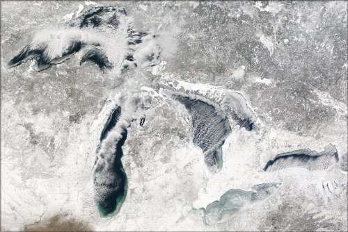 Poster - Michigan And Great Lakes Satellite Map During Winter
