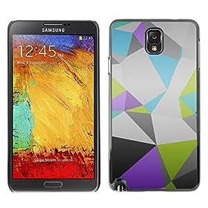 Caucho caso de Shell duro de la cubierta de accesorios de protección BY RAYDREAMMM - Samsung Note 3 N9000 - Patrón Polígono