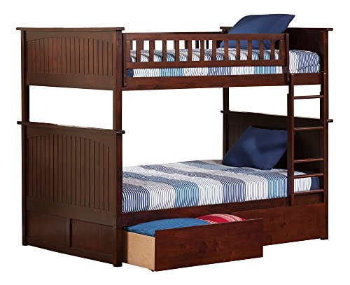 Atlantic Furniture Nantucket Bunk Bed with 2 Flat Panel Bed Drawers, Full Over Full, Antique (Full Flat Panel Drawer)