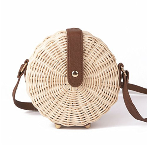 Womens Summer and Vacation Retro Natural Handbags Round C Peerless Travel Hand Chic Beach Crossbody Shoulder Woven Daily Use for Bag Fashion Bags Weave Straw an0USqn8