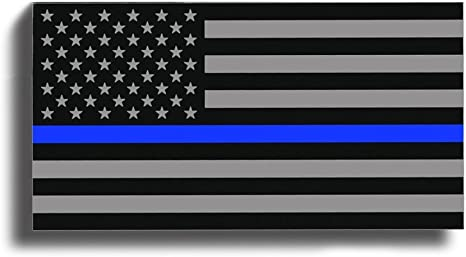 Aluminum Thin Blue Line Decal Blue Lives Matter Sticker Emblem In Support of Police Officers and Law Enforcement