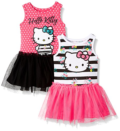 Hello Kitty Baby Girls 2 Pack Embellished Dresses, Pink, 12M
