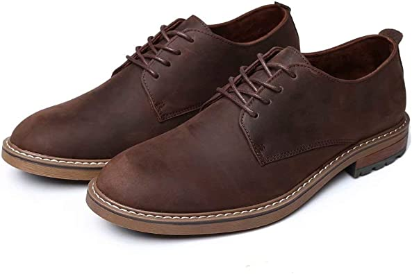 Details about  /38-47 Retro Mens Faux Leather Business Shoes Round Toe Lace up Work Breathable L
