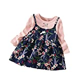 Girls Tutu Dresses Infant Baby Kids Shirt Long Sleeve Print Party Tops Princess Clothes (3T, Pink)