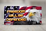 License Plate Frame for Women Freedom will Be Defended Patriotic License Plate Holders