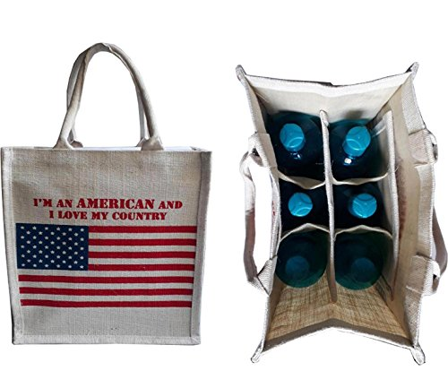 KVR natural Jute burlap wine beer water bottle cum can carrier bag US FLAG printed Grocery & lunch bag, Eco Environment Friendly versatile flexible (6 bottle bag, - Uk Kors M