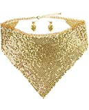 Women's Metal Chainmail Bib Necklace and Dangling Earring Set