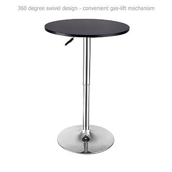 Amazon.com: Modern Sleek Design Round Wood Bar Table Height ...