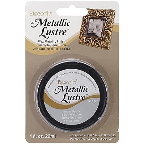DecoArt ML03C-28 Metallic Lustre Wax, 1-Ounce, Silver Spark Notions