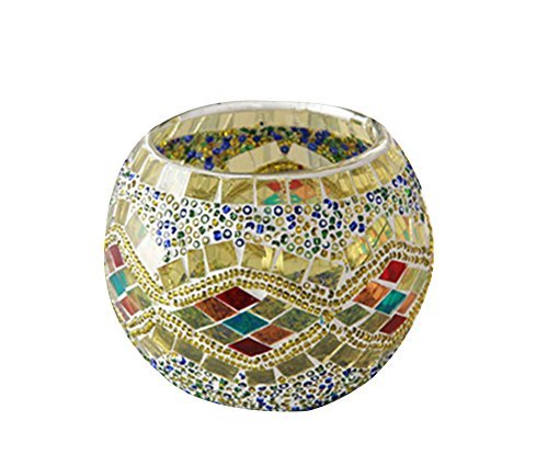 Kobwa(TM) Mosaic Glass Votive Candle Holder Table Decoration Centerpiece (Yellow) with Kobwa's Keyring