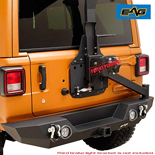 EAG LED Rear Bumper with Tire Carrier and Back Up Camera Tire Adapter Fit for 18-19 Jeep Wrangler JL ()