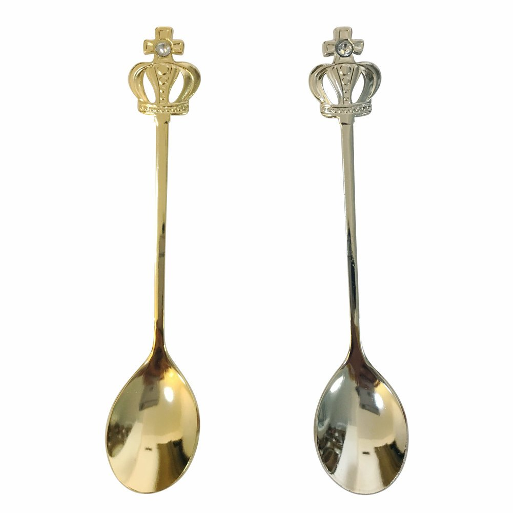 Grace life Retro Stainless Steel Gold Silver Crown Decor Handle Spoons Set of 12 Kitchen Vintage Style Coffee Spoon
