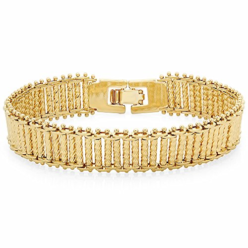 Gold Bracelet Bonded Diamond Cut (The Bling Factory 14k Yellow Gold Plated 13mm Diamond-Cut Ladder Style Chain Bracelet, 7
