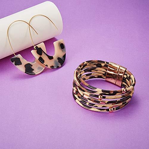 Hicarer 5 Pieces Leopard Jewelry Set Leopard Bracelet Earring Necklace for Women Girls