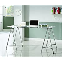Coaster Home Furnishings 800804 Writing Desk, Clear Tempered Glass/Nickel