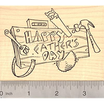 Happy Father's Day, Woodworking Rubber Stamp for Handy Dads: Arts, Crafts & Sewing