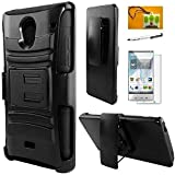 sharp phone - Sharp Aquos Crystal, Hybrid Armor Stand Case with Holster and Locking Belt Clip, Stylus Pen, Screen Protector & Droid Wiper Accessory (Holster Black)