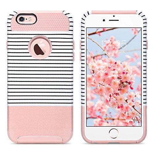 Caso del iPhone 6s, ULAK iPhone 6 Funda Carcasa Protector híbrido de la capa dual TPU + cubierta dura de la caja de la PC para el iPhone 6s / 6 4.7 pulgadas (mármol del oro de Rose) Oro Rosa + Rayas