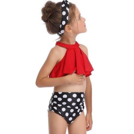 LXJL Verano Retro Hojas Imprimir Bikini Set Chica Bebé Playa ...