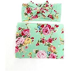 3a4e52b33 Hcside Newborn Infant Floral Swaddle Wrap Baby Swaddling Sleeping Bag Blanket  Headband (Green)