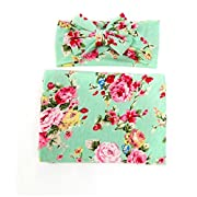Hcside Newborn Infant Floral Swaddle Wrap Baby Swaddling Sleeping Bag Blanket Headband (Green)