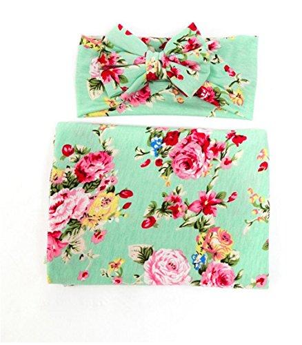 Hcside Newborn Infant Floral Swaddle Wrap Baby Swaddling Sleeping Bag Blanket Headband -