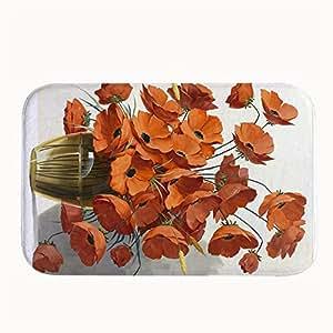 gueskie flores en agua alfombra alfombrilla antideslizante para puerta entrada Modo al aire libre