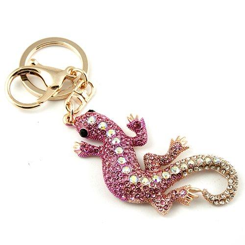 Silver Tone Rhinestone Lizard Gecko Hook Clip Key Ring Charm