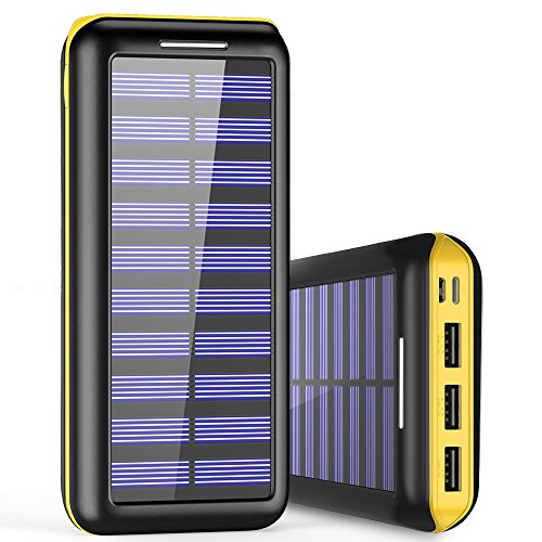 Solar Charger BernetPow 24000mAh Battery Pack High Capacity Solar Power Bank with USB Fan and 3 USB Port External Portable Charger for iPhone, iPad, Samsung, HTC, and other Tablet (Black-Yellow) (Charger Solar Portable)