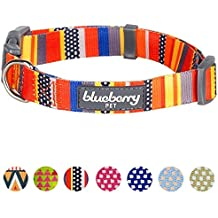 "Blueberry Pet 8 Patterns Nautical Flags Inspired Designer Basic Dog Collar, Neck 18""-26"", Large, Adjustable Collars for Dogs"