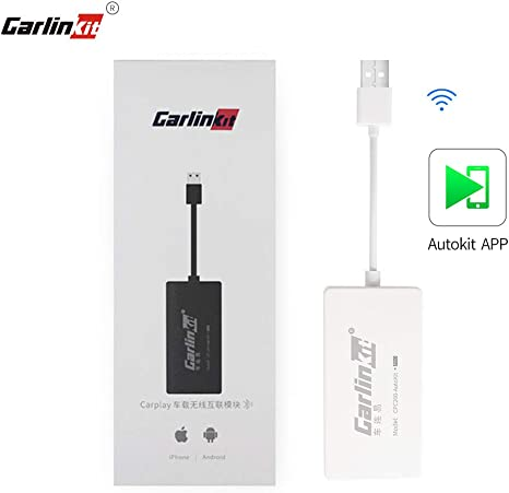 only Support Wireless carplay with iPhone Carlinkit Wireless Carplay USB Dongle Wired Android auto Multimedia Receiver for aftermaket vihecle with Android System Unit Radio Upgrade Plug and Play