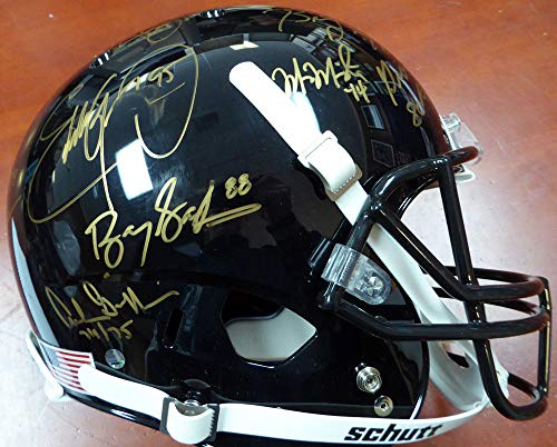 (Heisman Trophy Winners Signed Auto Full Size Black Helmet With 23 Signatures Including Barry Sanders, Bo Jackson & Marcus Mariota Steiner Holo #SS149830)
